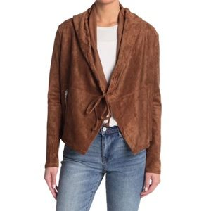 NWT BLANK NYC Faux Suede Hoodie in Brown Size S